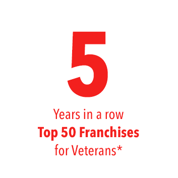5 years in a row Top 50 Franchises for Veterans *